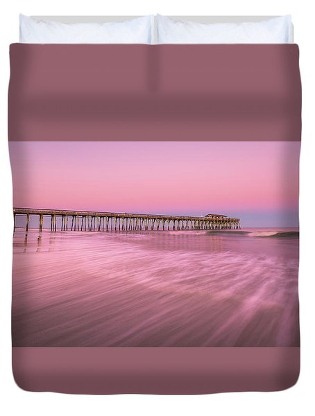 Duvet Cover featuring the photograph Myrtle Beach Fishing Pier At Sunset Panorama by Ranjay Mitra