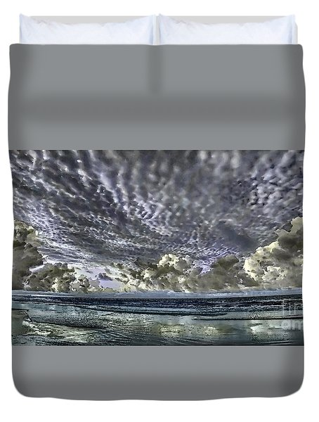 Myrtle Beach Hand Tinted Panorama Sunrise Duvet Cover