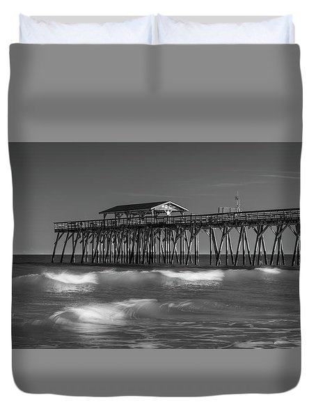 Duvet Cover featuring the photograph Myrtle Beach Pier Panorama In Black And White by Ranjay Mitra