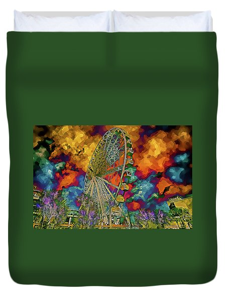 Myrtle Beach Skywheel Abstract Duvet Cover by Bill Barber