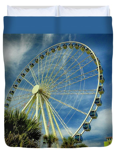 Myrtle Beach Skywheel Duvet Cover by Bill Barber