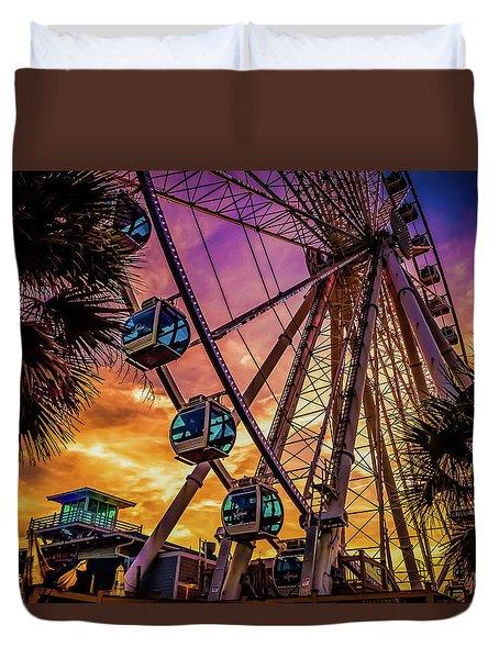 Myrtle Beach Skywheel Duvet Cover by David Smith