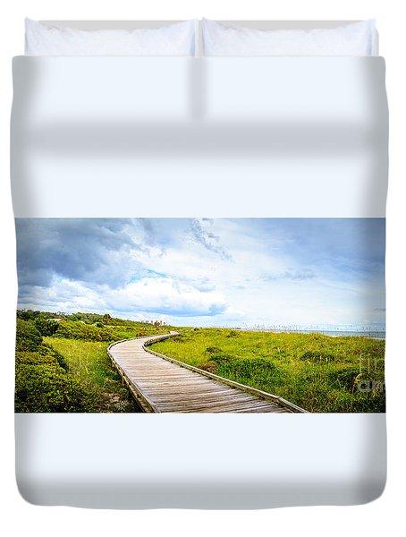 Myrtle Beach State Park Boardwalk Duvet Cover by David Smith