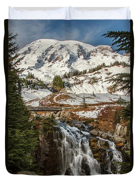 Myrtle Falls, Mt Rainier Duvet Cover by Tony Locke