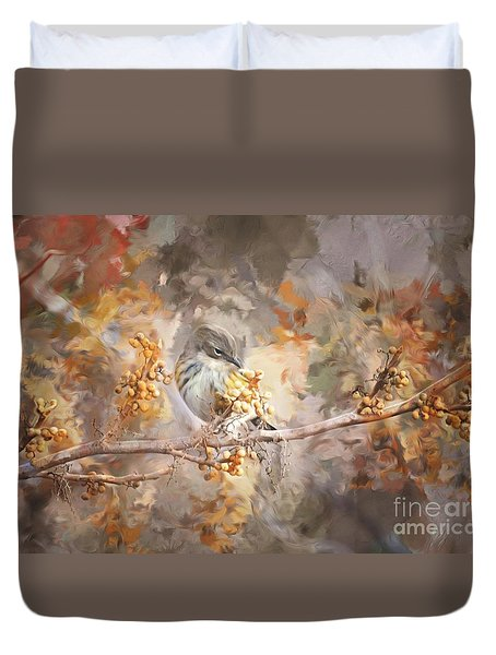 Myrtle Warbler Two Duvet Cover by Suzanne Handel