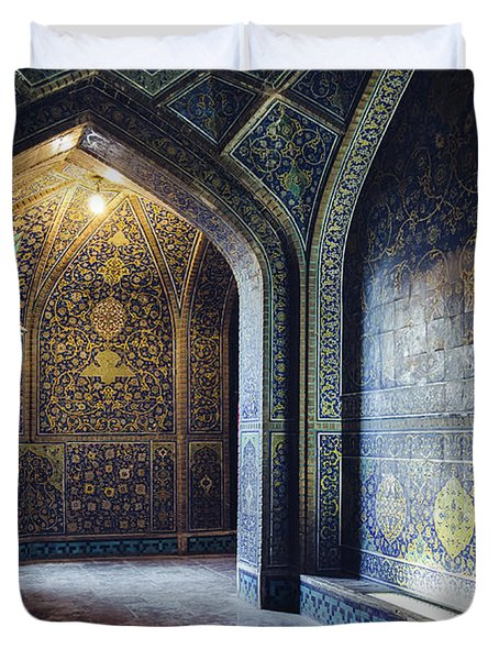 Mysterious Corridor In Persian Mosque Duvet Cover