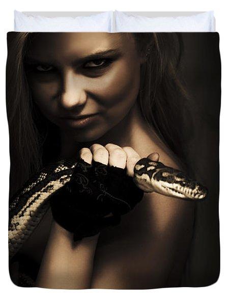 Mysterious Dark Sorceress Duvet Cover