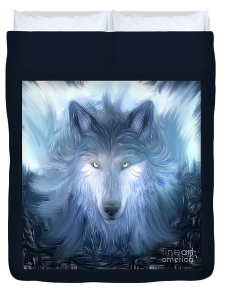 Mysterious Wolf Hand Painted Duvet Cover by Heinz G Mielke