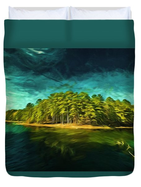 Mysterious Isle Duvet Cover by Dennis Baswell