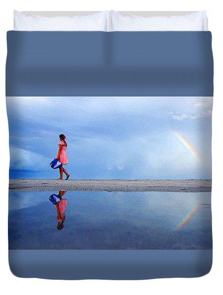 Mysterious Rainbow Girl Duvet Cover