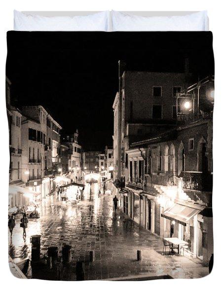 Mysterious Venice Monochrom Duvet Cover