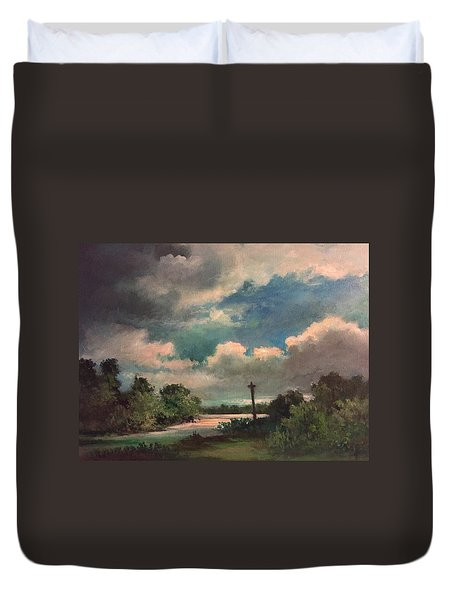 Duvet Cover featuring the painting Mystery Of God  The Eye Of God by Randol Burns