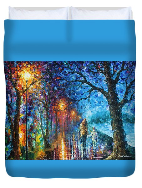 Mystery Of The Night Duvet Cover by Leonid Afremov
