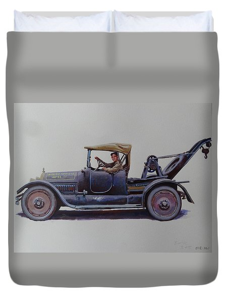 Duvet Cover featuring the painting Mystery Wrecker 1930. by Mike  Jeffries