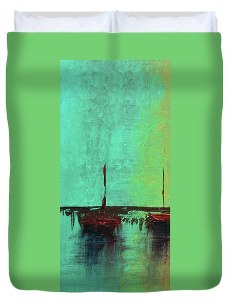 Mystic Bay Triptych 1 Of 3 Duvet Cover