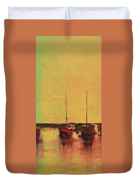 Mystic Bay Triptych 2 Of 3 Duvet Cover
