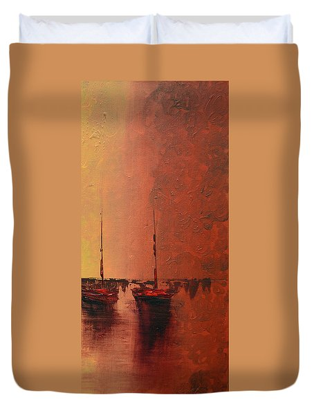 Mystic Bay Triptych 3 Of 3 Duvet Cover