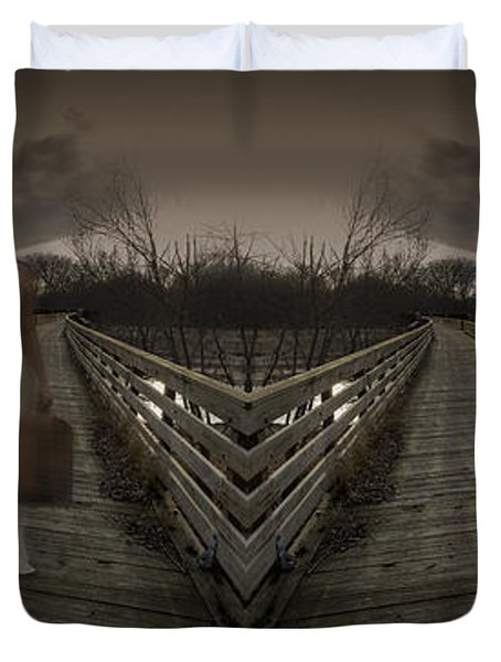 Mystic Bridge In A Dream World Duvet Cover