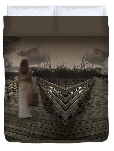 Mystic Bridge In A Dream World Duvet Cover