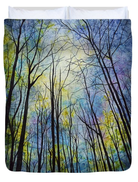 Duvet Cover featuring the painting Mystic Forest by Hailey E Herrera