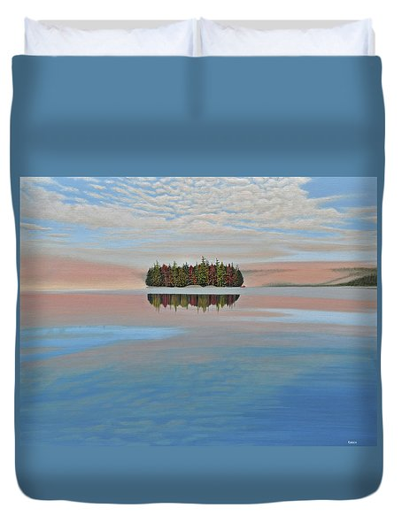 Duvet Cover featuring the painting Mystic Island by Kenneth M  Kirsch