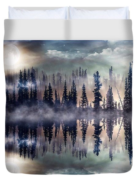 Duvet Cover featuring the mixed media Mystic Lake by Gabriella Weninger - David