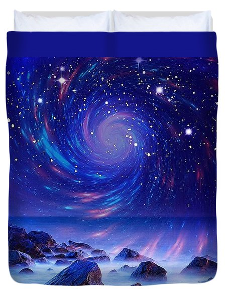 Duvet Cover featuring the mixed media Mystic Lights by Gabriella Weninger - David
