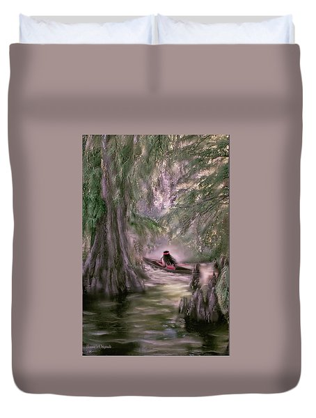 Duvet Cover featuring the digital art Mystic Reelfoot Lake  by Bonnie Willis
