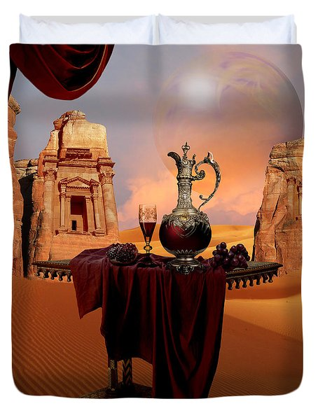 Duvet Cover featuring the digital art Mystic Ruins In Desert by Alexa Szlavics