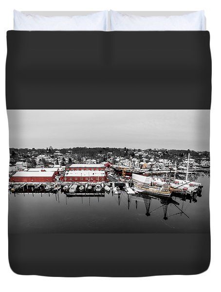 Mystic Seaport In Winter Duvet Cover