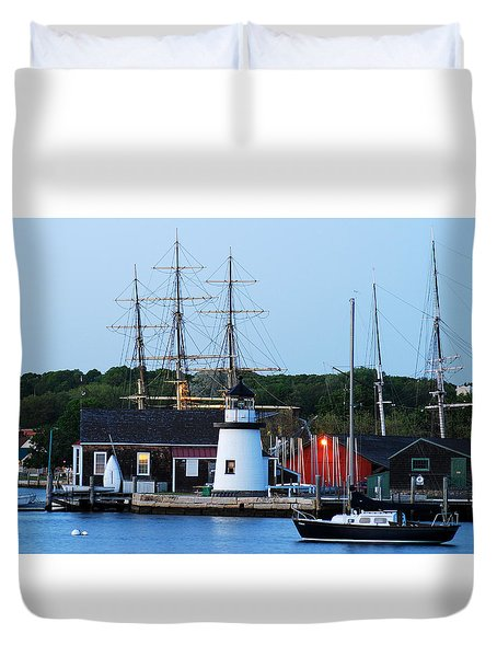 Duvet Cover featuring the photograph Mystic Seaport by James Kirkikis