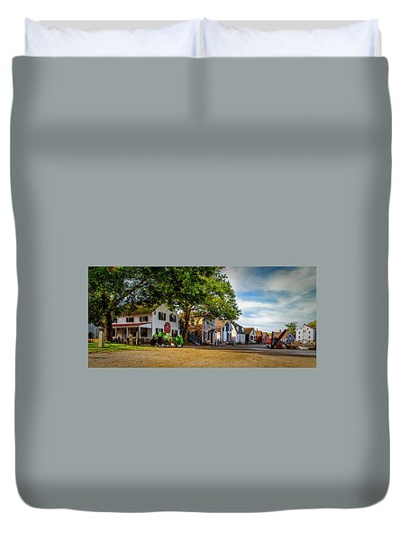 Mystic Seaport Village Duvet Cover