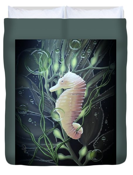Duvet Cover featuring the painting Mystical Sea Horse by Dianna Lewis