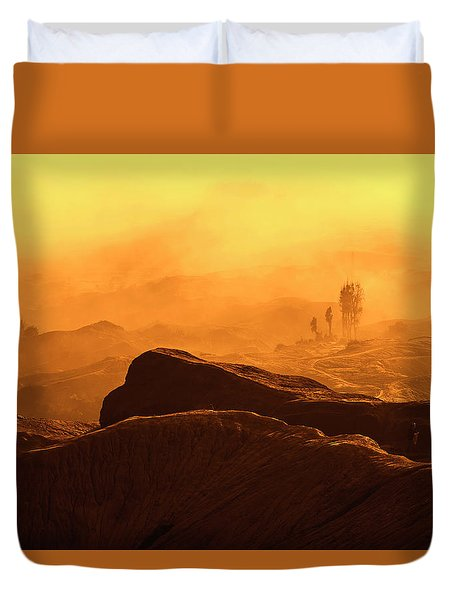 Duvet Cover featuring the photograph mystical view from Mt bromo by Pradeep Raja Prints