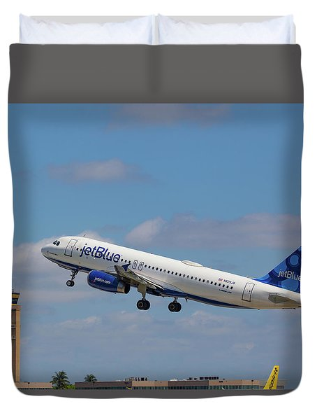 N625jb Jetblue At Fll Duvet Cover