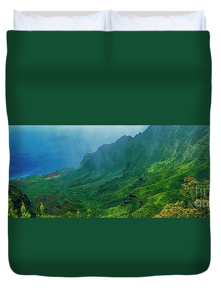 na Pali coast Kailua lookout kauai Hawaii Duvet Cover