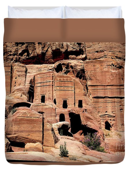 Duvet Cover featuring the photograph Nabataeans' City by Mae Wertz