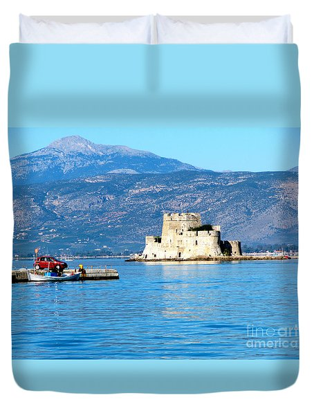 Duvet Cover featuring the photograph Naflion Greece Harbor Fortress by Phyllis Kaltenbach