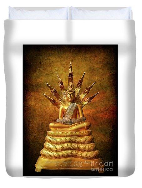Duvet Cover featuring the photograph Naga Buddha by Adrian Evans