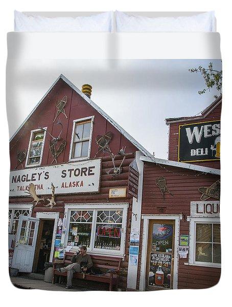 Nagleys Store Talkeetna Alaska Duvet Cover by Allan Levin