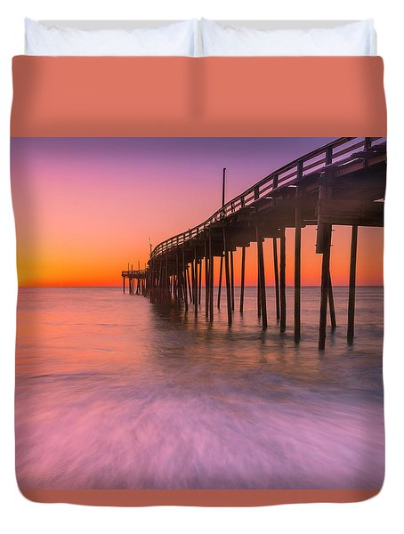 Duvet Cover featuring the photograph Nags Head Avon Fishing Pier At Sunrise by Ranjay Mitra