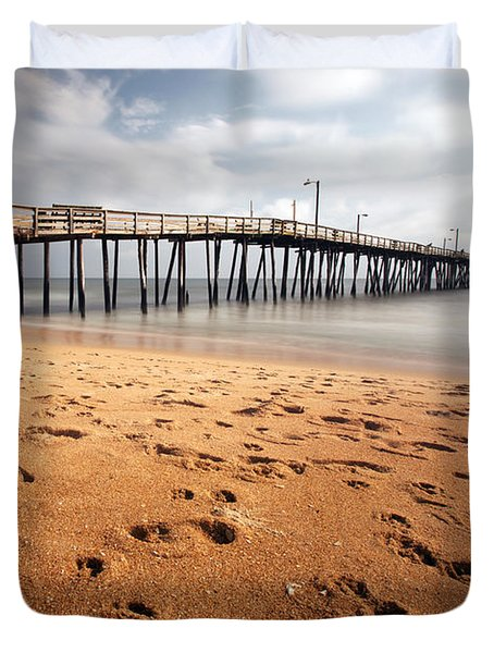 Nags Head Fishing Pier Duvet Cover