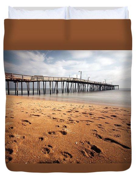 Nags Head Fishing Pier Duvet Cover