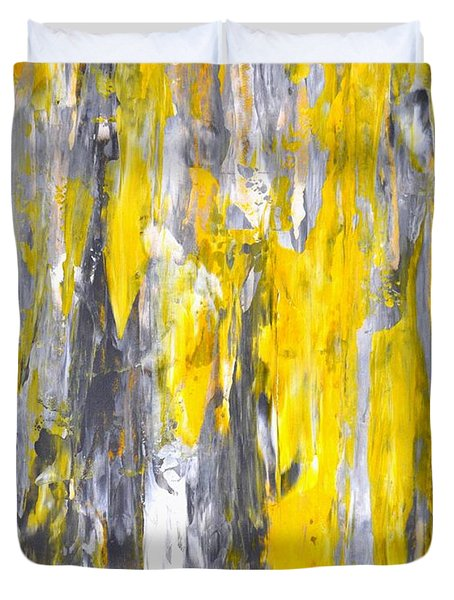 Nailed It - Grey And Yellow Abstract Art Painting Duvet Cover