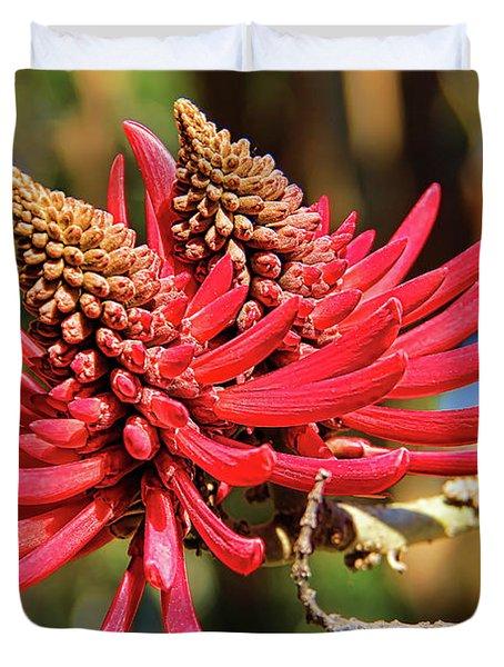 Naked Coral Tree Flower Duvet Cover