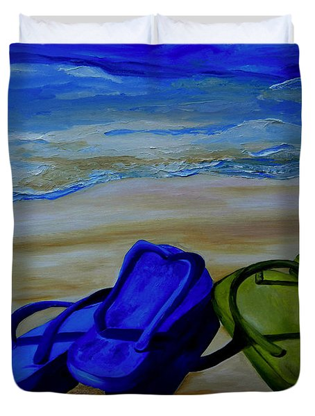 Naked Feet On The Beach Duvet Cover