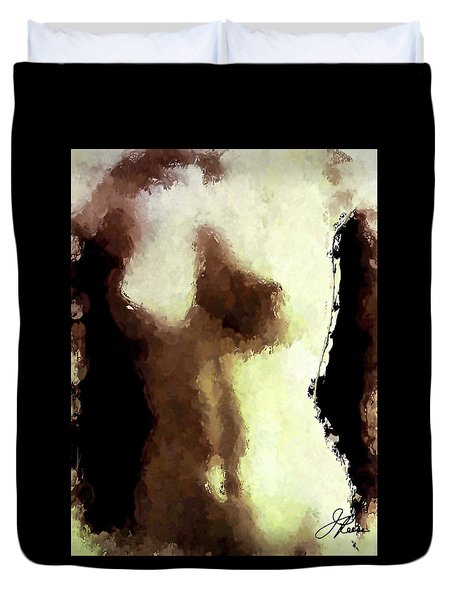 Duvet Cover featuring the painting Naked Female Torso  by Joan Reese