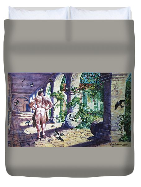 Naked In The Cloisters Duvet Cover