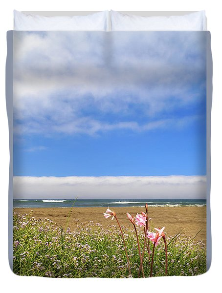 Duvet Cover featuring the photograph Naked Ladies At The Beach by James Eddy