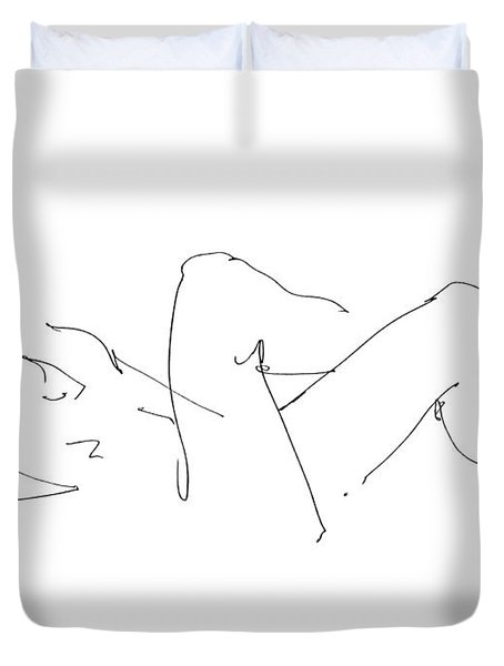 Naked-male-drawing-14 Duvet Cover